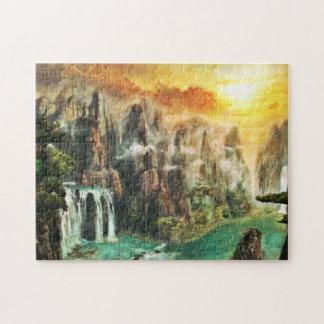 Scenic Fantasy Waterfall Jigsaw Puzzle