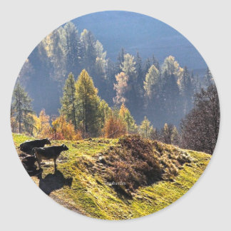 Scenic Graubunden Switzerland Classic Round Sticker