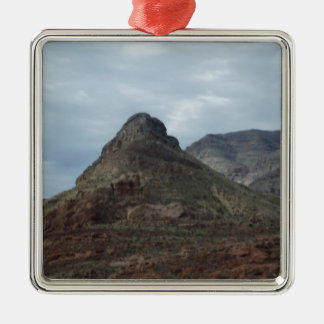 Scenic Hills View Silver-Colored Square Ornament