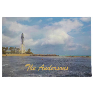 Scenic Hillsboro Inlet Light Personalized Doormat