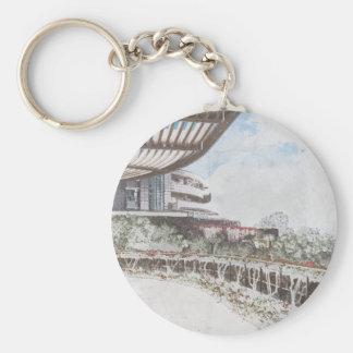Scenic Hillside Architecture Basic Round Button Keychain