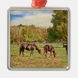 Scenic Horse Painting Ornament