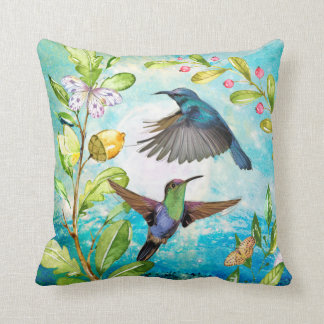 Scenic Hummingbirds Floral Nature Art | Blue Green Throw Pillow