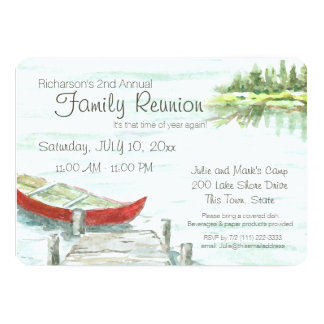 Scenic Lake and Canoe Family Reunion Card