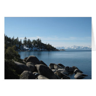 Scenic Lake Tahoe Christmas Snow Covered Mountains Card