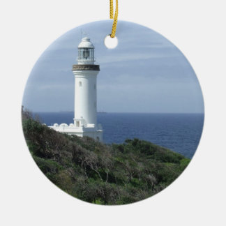 Scenic Lighthouse Round Ceramic Ornament