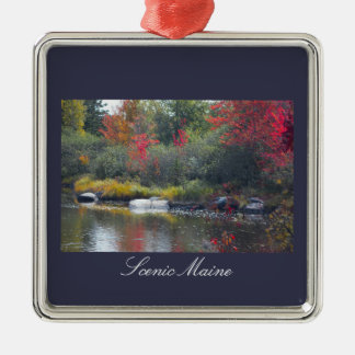 Scenic Maine Silver-Colored Square Ornament