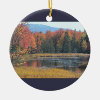 Scenic Maine Waterscape Round Ceramic Ornament
