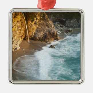 Scenic McWay Falls tumbles into the beach and Silver-Colored Square Ornament