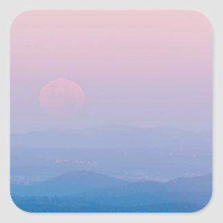 Scenic Moon at Dawn Landscape Glossy Stickers