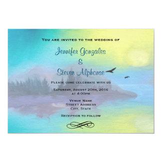 """Scenic Mountain Lake Landscape Wedding 5"""" X 7"""" Invitation Card"""