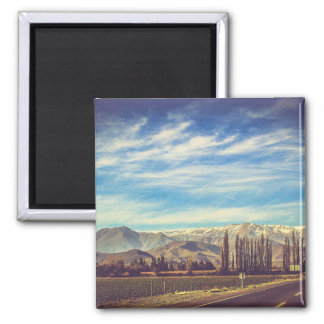 Scenic Mountain Landscape in The Andes Square Magnet