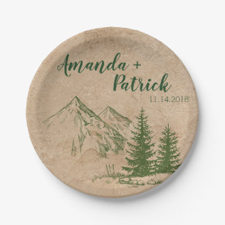 Scenic Mountain Range Wedding Paper Plate