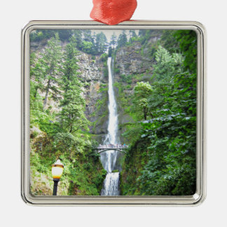 Scenic Multnomah Falls Silver-Colored Square Ornament