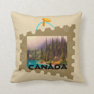 Scenic Northern Landscape in a Postage Stamp Frame Throw Pillow