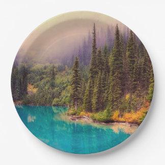 Scenic Northern Landscape Rustic Paper Plate