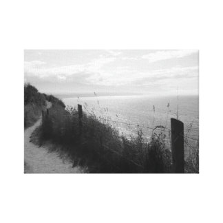 Scenic ocean view in black and white canvas print