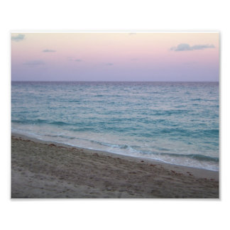 Scenic Peaceful Pink Sunset Beach Photo