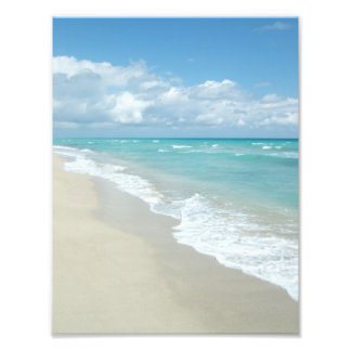 Scenic Peaceful White Sand, Blue Water Beach Photo