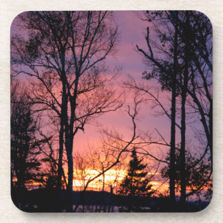 Scenic Pink and Orange Sunset Drink Coasters