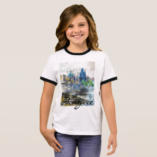 Scenic Prague in the Czech Republic Ringer T-Shirt