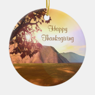 Scenic Thanksgiving Round Ceramic Ornament