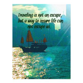 Scenic Traveling Quote Victoria Harbor with Boat Letterhead Template