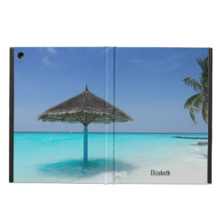 Scenic Tropical Beach with Thatched Umbrella Cover For iPad Air