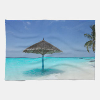 Scenic Tropical Beach with Thatched Umbrella Kitchen Towel