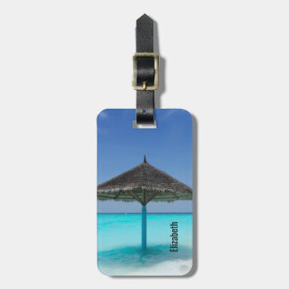 Scenic Tropical Beach with Thatched Umbrella Luggage Tag