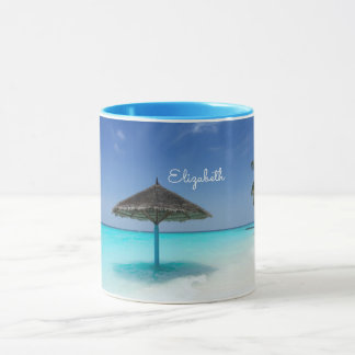 Scenic Tropical Beach with Thatched Umbrella Mug
