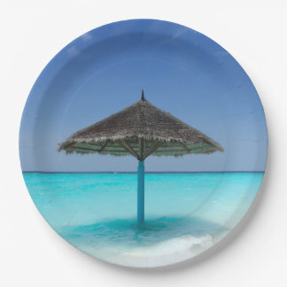 Scenic Tropical Beach with Thatched Umbrella Paper Plate