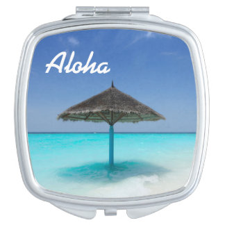 Scenic Tropical Beach with Thatched Umbrella Travel Mirror