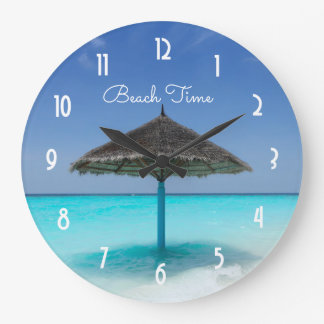 Scenic Tropical Beach with Thatched Umbrella Wallclocks