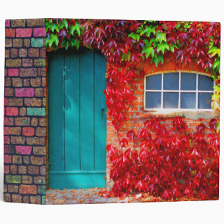 Scenic Turquoise Door with Vivid Autumn Leaves 3 Ring Binders