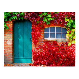 Scenic Turquoise Door with Vivid Autumn Leaves Postcard