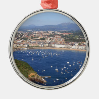 Scenic view of beautiful San Sebastian coastline Silver-Colored Round Ornament