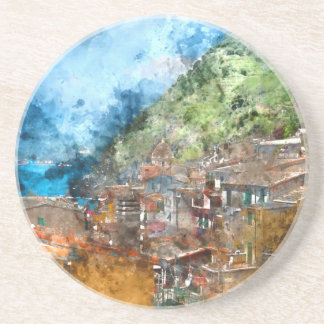 Scenic view of colorful village Vernazza and ocean Beverage Coasters