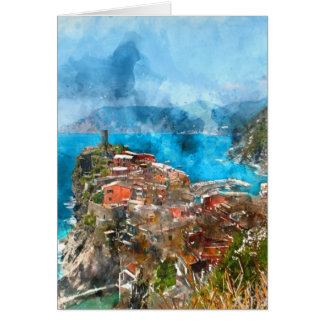Scenic view of colorful village Vernazza and ocean Card