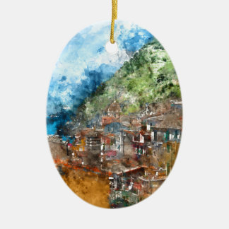Scenic view of colorful village Vernazza and ocean Ceramic Oval Ornament