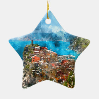 Scenic view of colorful village Vernazza and ocean Ceramic Star Ornament