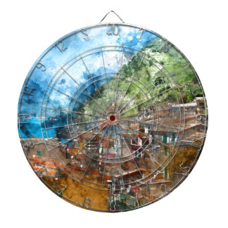 Scenic view of colorful village Vernazza and ocean Dart Boards