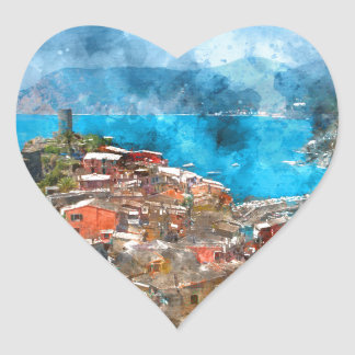 Scenic view of colorful village Vernazza and ocean Heart Sticker