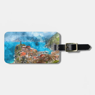 Scenic view of colorful village Vernazza and ocean Luggage Tag