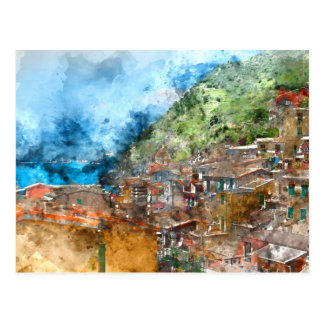 Scenic view of colorful village Vernazza and ocean Postcard