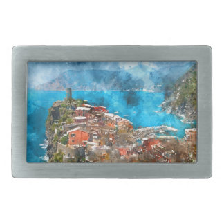 Scenic view of colorful village Vernazza and ocean Rectangular Belt Buckles