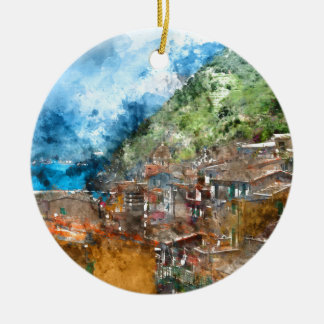 Scenic view of colorful village Vernazza and ocean Round Ceramic Ornament