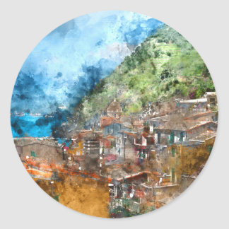 Scenic view of colorful village Vernazza and ocean Round Sticker