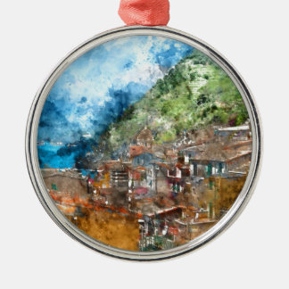 Scenic view of colorful village Vernazza and ocean Silver-Colored Round Ornament