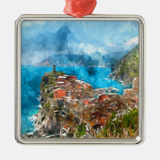 Scenic view of colorful village Vernazza and ocean Silver-Colored Square Ornament